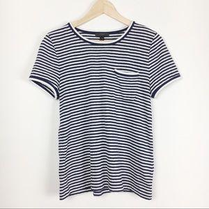 J.Crew Blue & White Stripe Nautical T-Shirt Medium